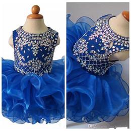 desfile nacional vestidos chicas Rebajas 2019 Nuevo O-cuello con cuentas Diamante Glitz Girls Concurso nacional Vestidos de magdalenas Vestidos de tutú para bebés Niñas bebés pequeños con volantes Mini vestidos de cumpleaños