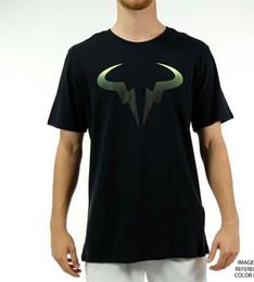 Логотип суда онлайн-Корт теннис мужская поп Tee Rafa логотип Рафаэль Надаль футболка Новый 2019 хлопок с коротким рукавом футболки смешные рубашки Мужские