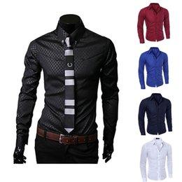 Camisa ajustada para hombre de negocios Camisa de manga larga Camisas de vestir Casual Camisa de algodón Tops Negro Blanco Rojo Azul marino # 456427 desde fabricantes