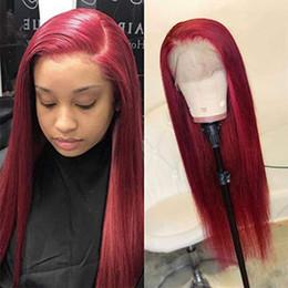 Capelli umani remy rossi online-Parrucche anteriori del merletto di sguardo di colore rosso per le donne di modo parrucche diritte lunghe dei capelli umani di 180% di densità peruvain di Remy di densità