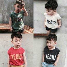 2019 Корейская детская одежда новый детский хлопчатобумажный жилет трикотажная рубашка без рукавов INS рубашка мальчика с коротким рукавом летом от Поставщики красная одежда