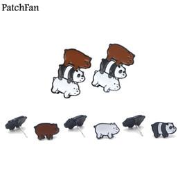 2019 серьги для подружки день рождения 12 пар / лот Patchfan Мы голые медведи мультфильм смешной аниме дизайн для серьги вечеринки сувениры подруга на день рождения подарки A1563 дешево серьги для подружки день рождения
