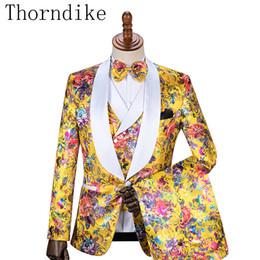 pantalons jaunes pour hommes à bas prix Promotion Thorndike Smokings De Mariage Jaune Slim Fit Costumes Pour Hommes Groomsmen Costume Trois Pièces Pas Cher Prom Costumes Formels (Veste + Pantalon + Gilet)