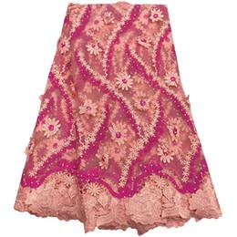2019 розовый измеритель ткани Высокое качество нигерийский 3D свадебные кружева ткань последний африканский кружевной ткани 2019 французский чистая кружевной ткани для платья A1497