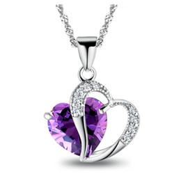 Großhandel Anhänger Schmuck Spiffing Herzform Kristall Anhänger Echt 925 Silber Halskette Drei Farben mit Box 18inches Halskette von Fabrikanten