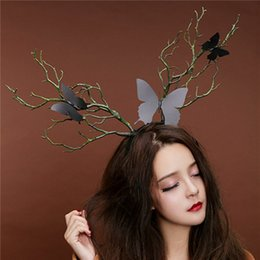 fancy long hair Promo Codes - Long Antlers Tree Branches Horns Hat Hair Headband Cosplay Party Fancy Dress NEW Cosplay Halloween X-mas Accessories