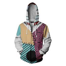 Jack skellington en Ligne-Jack Skellington Nightmare Before Christmas Zipper Sweat à capuche 3D Imprimer unisexe Sweat-shirt de sport cosplay costume