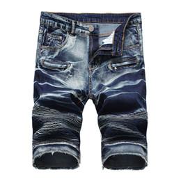 falten-jeans Rabatt Mens Außenhandel Denim Shorts Motorrad Reißverschluss Falten Männer Denim Stretch Designer Hosen heißer Verkauf kurze Jeans