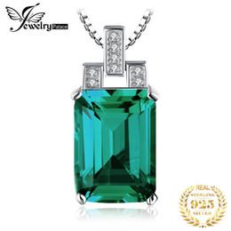 Nanokette online-Ewelry premier JewelryPalace Luxus 6ct Grün Nano Russisch Erstellt Smaragd Anhänger Echte 925 Sterling Silber Schmuck Für Frauen Geburtstag ...