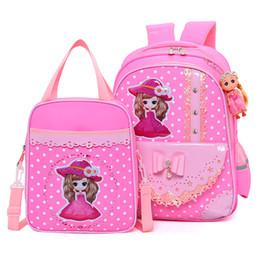 2019 escola ortopédica Crianças saco de escola conjunto menina mochila rosa arco Pérola pingente meninas sacos de escola crianças mochilas para adolescente mochila ortopédica desconto escola ortopédica