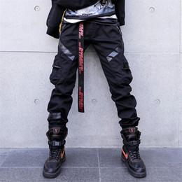 cuero harem Rebajas 2019 Hot Fashion Leather Splice Pants Hombres High Street Pantalones casuales Hip Hop Negro Slim Harem Joggers Hombres pantalones multibolsillo