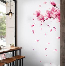 2019 arte de parede espelho redondo 2019 Removível Ameixa Flor de Pêssego Flor Mural Adesivos De Parede Decorativo Arte Da Parede Decal Adesivo de Parede Home Decor Decoratio