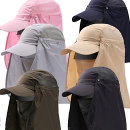 2019 chapéus de sol dobráveis mulheres Homens mulheres ao ar livre desmontável secagem rápida UV NECK Proteção pesca chapéu verão respirável escalada Anti-mosquito Tactical sun caps desconto chapéus de sol dobráveis mulheres