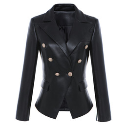 Giacca in pelle di alta qualità PU Blazer Donna Lion Head Buttons Ufficio formale Lady Fashion Leisure Slim Jacket Coat Work Wear P782 da cappotti formali signora dell'ufficio fornitori