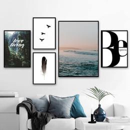 peintures à l'huile de qualité femmes Promotion Forêt Bleu Océan Paysage Paysage Mur Art Toile Peinture Affiches Et Gravures Nordique Affiche Mur Photos Pour Salon Décor