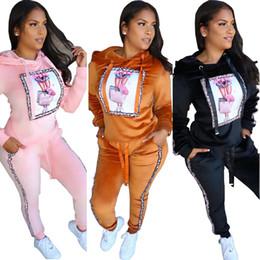 pantalone di yoga in velluto Sconti 2019 Tute con cappuccio da donna autunno inverno in velluto Novità Felpa e maniche lunghe stampate Tasche pantaloni Casual Due pezzi Outfit