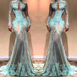 long sleeve prom dresses slit front Coupons - Mint Green Full Lace Prom Dress High Slit Sexy Evening Dress Beaded Sheer Lace Party Sexy Mermiad Dresses Custom Made