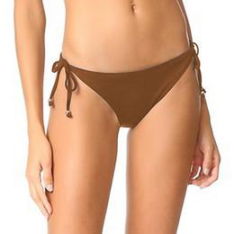 Коричневые шорты онлайн-Купальник 2019 Sexy Bas Bikini Pant Ladies Brown Трусики женские бикини Купальный костюм Купальники с короткими бразильскими низами