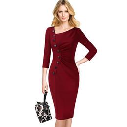 Pinup wiggle vestidos online-Vfemage Womens Asymmetric Neck Vintage Pinup Retro acanalado botón plisado trabajo delgado oficina de negocios Wiggle vaina vestido 039 Q190511