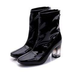 d814559cec botas cortas tacones gruesos Rebajas Patentes de cuero transparente Botines  de mujer Tacones altos Toe cuadrado