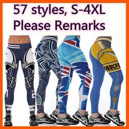Pantaloni yoga stampa digitale online-delle donne all'ingrosso caldo di calcio squadra di rugby di yoga pantaloni a vita alta elastico jogging Palestra Collant fitness 3D Digital Print Slim Workout Leggings