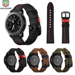 Per Galaxy Watch 46mm cinturini da polso più recenti linea di cucito cinturini cinturino in vera pelle per cinturino Samsung Gear S3 22mm da