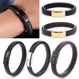 Braceletes de couro do punho do motociclista on-line-Couro Buckle Bangle Handmade trançado Magnetic Bracelet motociclista Cuff Homens
