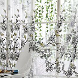Cortinas moradas de flores online-Cortinas de tul de flores grises / azules / púrpuras para sala de estar Dormitorio Cocina Tratamiento de ventana transparente Cortina de panel de cortina corta moderna