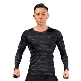 Collant verde camouflage online-T-shirt manica lunga a maniche lunghe per asciugatura rapida a maniche lunghe in poliestere verde Fitness Camouflage 2019