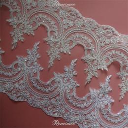 cornice in fiore Sconti Delicato 1Y Bianco / Avorio Sequin Cording Tessuto Fiore Venise Venezia Mesh Pizzo Applique Applique da cucire per matrimonio Dec. 23cm