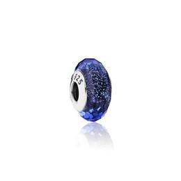 perlas de murano plata 925 núcleo Rebajas Plata de ley 925 Núcleo Azul Facetado Murano Glass Beads Charms Fit Pandora Pulseras Collar DIY Accesorios de Joyería Femenina PDZ124