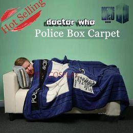 Tela de franela a cuadros online-cubierta Textiles para el hogar Niños adultos Edredón Doctor Who Tardis Anime Sofá Franela Fleece Tela Plaid Throw Colcha Cubierta Manta