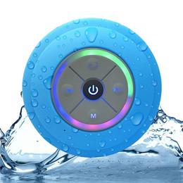 Haut-parleurs bluetooth en Ligne-Mini Bluetooth Haut-Parleur Avec Douche LED Subwoofer Douche Étanche Ventouse Haut-Parleur Sans Fil Support Carte TF Mains Libres Pour iPhone Samsung