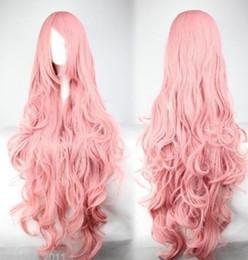 Недорогие розовые длинные парики онлайн-Wig Cheap Long Vocaloid- Luka Pink Wavy Anime Cosplay Wig 100cm Free Shipping