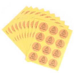 adesivo compleanni felici Sconti Delidge 120pcs Happy Birthday Circle Handmade Cake Packaging Etichetta di tenuta Kraft Sticker Cottura Adesivi regalo fai da te