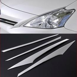 2019 soleiras de porta peugeot Aço 4pcs SUS304 inoxidável Head Lamp Side Car Trim Styling Acessórios Capa Para Toyota Prius V ZVW40