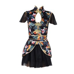 Trajes de dança para cantores on-line-Impressão de Dança Traje Cantores Boate Rave Roupas Mulheres DJ Jazz Desgaste Da Equipe Oriental Dance Outfit Chinês Dança Vestido DC1029