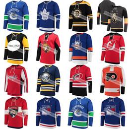Sudadera de encaje de hockey online-capitales Equipos de moda Hojas de hockey Canucks Sabres Rangers Bruins Hurricanes Islanders Devils Panthers Custom Lace Up Pullover Sweatshirt