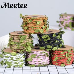 Ribbon yarn on-line-Meetee cana correias Jute Fios Flor Folha Laço de Fita de Presente de Casamento Buquê de Flores Fitas de Embalagem 10 m / roll DIY Artesanato Acessórios KY2073