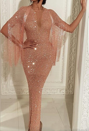 ankle length see through dress Promo Codes - 2019 Arabic See Through Sequins Mermaid Prom Dresses Rose Gold Short Sleeve Evening Gowns Ankle Length Split Cocktail Party Gown