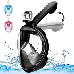 mergulho livre Desconto Snorkel Mask Vista Panorâmica Máscara de Mergulho com Face Completa 180 ° Vista Panorâmica Free Breathing Diving Swimming Camera Mount