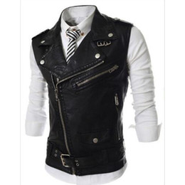 pu vest men Promo Codes - Fashion 2018 Sleeveless Pu Leather Motorcycle Waistcoat Men High quality Leather Vest Men Slim Fit Size M-2XL