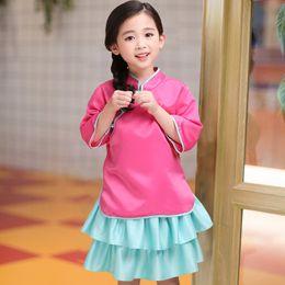 Conjuntos de ropa de niñas chinas online-Venta al por menor trajes para niños niña traje de estilo chino vestido trajes de verano de dos piezas (top + tutu falda) bebé chándal ropa de diseñador para niños