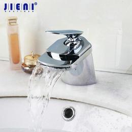 2019 polimento da torneira JIENI Latão Banheiro Bacia Torneira Misturadora Torneira Cachoeira Deck Montado Banheiro Chrome Polido Faucet 1 Lidar Com Pia Da Vaidade desconto polimento da torneira