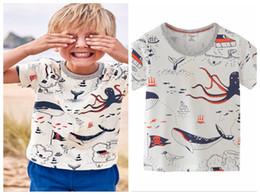 Trajes de muchacho preppy online-3-8T Bebé niño animal impreso tops nuevo estilo de verano de manga corta de algodón trajes niños cuello redondo ropa al por mayor