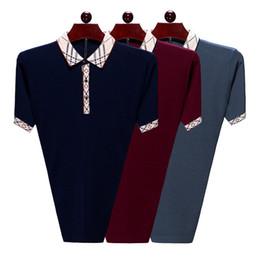camisa formal colar desenhos Desconto Hot Sales Shirt Design de Luxo Masculino Verão Turn-Down Collar Mangas Curtas Camisa De Algodão Homens Top Plus Size