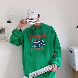 Gioventù nera con cappuccio online-2019 Autunno Inverno Nuova Gioventù popolare della stampa con cappuccio allentato modo casuale pullover Grigio / Bianco Nero Verde Blu