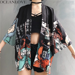 Blusas finas de moda online-OCEANLOVE Harajuku Kimono Japonés Estampado 2019 Primavera Verano Cosplay Yukata Mujeres Tops Blusa suelta Moda Blusa 11192