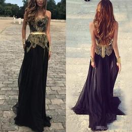 vestidos de noite strapless fita preta Desconto Modest preto longo vestidos de baile chiffon strapless fita de renda de ouro com zíper de volta até o chão 2019 vestidos de noite formais feitos sob encomenda