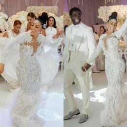 2019 vestidos de novia saab manga Charbel Zoe Elie Saab Yousef alijasmi sirena vestidos de novia 2020 de la manga larga de la pluma blanca de Zuhair Murad Kylie Jenner vestidos de novia saab manga baratos